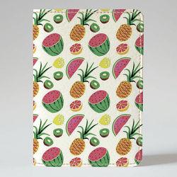 Обложка на паспорт, Арбузик, киви, ананас, экокожа