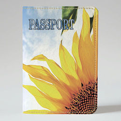 Обложка на паспорт, Утренний подсолнух, экокожа