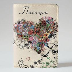 Обложка на паспорт, Сердце из цветов, экокожа Обложка на паспорт, Сердце