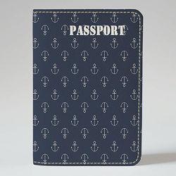 Обложка на паспорт, Якоря на синем фоне, экокожа