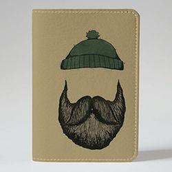 Обложка на паспорт, Борода да шапка, экокожа Обложка на паспорт, Борода
