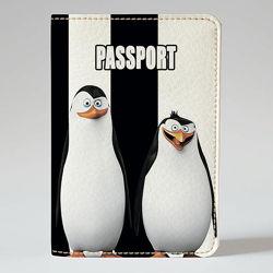 Обложка на паспорт, Пингвины Мадагаскара, экокожа Обложка на паспорт, Пи