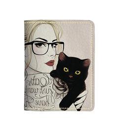 Картхолдер на 4 отделения, Девушка с котиком, экокожа