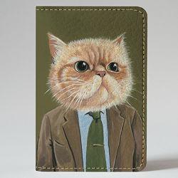 Картхолдер на 4 отделения, Кот директор, экокожа