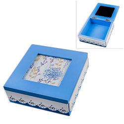 Шкатулка деревянная Голубая надежда, голубой, белый, 15х15х6 см EL-003