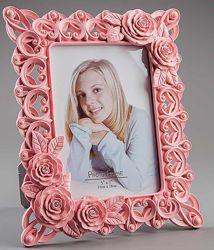 Фоторамка ажурная, с цветами, розовый, 20х26 см EL-019