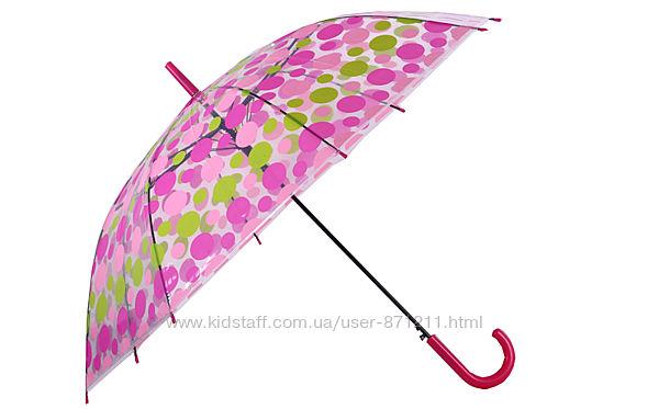 Зонт-трость прозрачный, полуавтомат, 8 спиц, розовый/салатовый XI-011