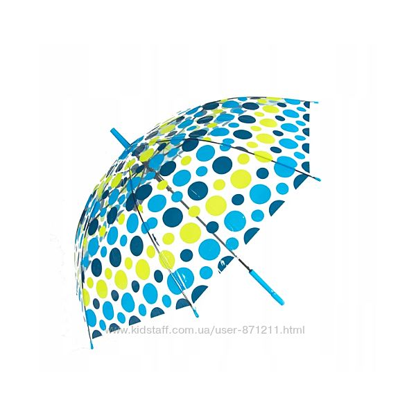 Зонт-трость прозрачный, полуавтомат, 8 спиц, синий/желтый XI-014