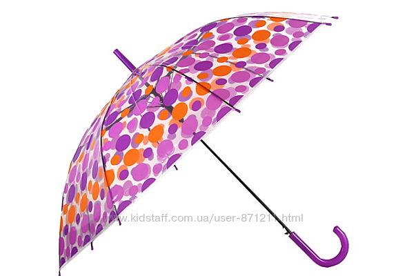 Зонт-трость прозрачный, полуавтомат, 8 спиц, фиолетовый/оранжевый XI-015