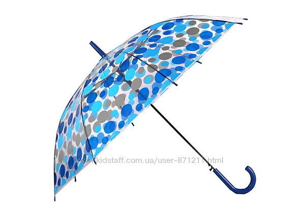 Зонт-трость прозрачный, полуавтомат, 8 спиц, синийсерый XI-016