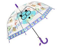 Зонт детский Котики, прозрачный, фиолетовый