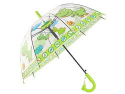 Зонт детский Дракошки, прозрачный, салатовый
