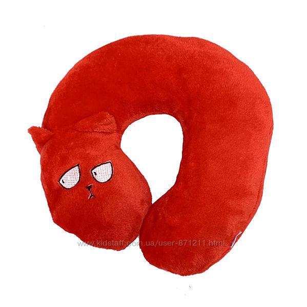 Подушка дорожная в форме кота, красная KOT-026