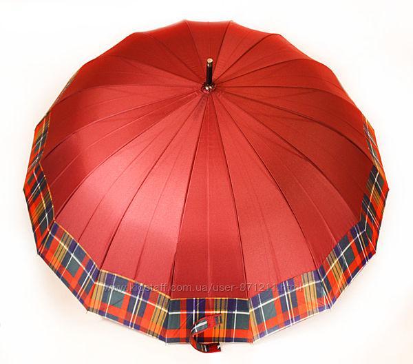 Зонт-трость, полуавтомат, 16 спиц, бордовый