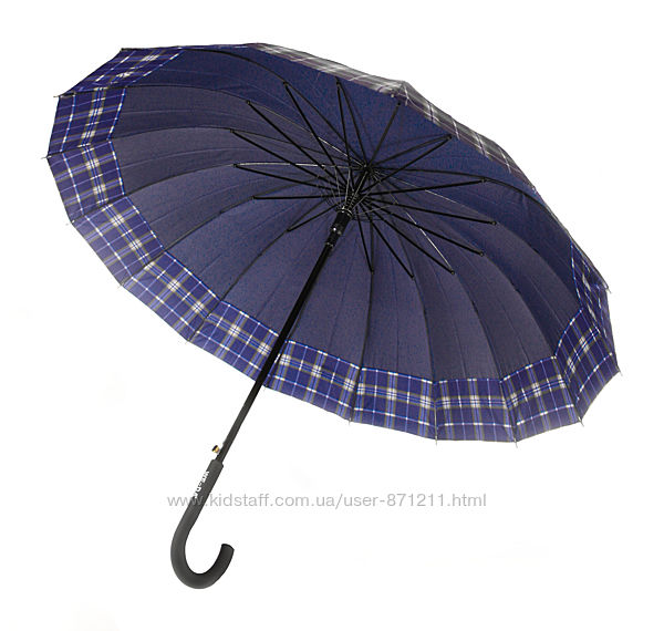 Зонт-трость, полуавтомат, 16 спиц, синий