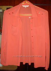 Блузка, рубашка,  коралловая, цветная, розовая, легкая, летняя, футболка,