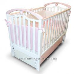 Новинка Детская кроватка Верес ЛД 5 продольный маятник бело-розовая