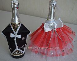 Свадебное украшение на шампанское