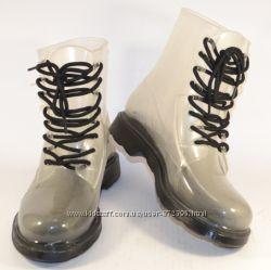 Прозрачные силиконовые ботинки чёрная дымка