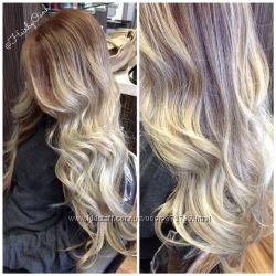 Трессы волосы Омбре каштан в пепельно-русый низ