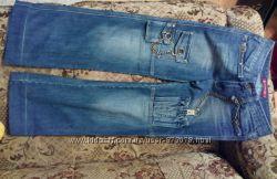 Стильные синие джинсы бойфренд с цепями на подростка или девушку