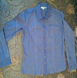 Новая красивая стильная женская рубашка синяя в мелкую белую полосочку