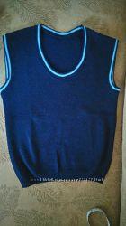 Синяя красивая стильная шерстяная жилетка безрукавка школьная теплая