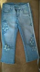 Красивые модные стильные женские бриджи капри джинсовые голубые синие