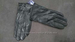 Мужские кожаные перчатки на плюше
