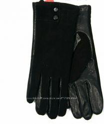 Разные Женские замшевые перчатки с кожаной ладошкой с плюшевой подкладкой