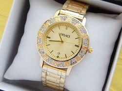 Женские кварцевые наручные часы Versace золото, серебро