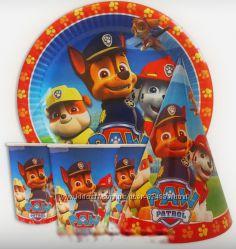 Праздничный набор посуды щенячий патруль, атрибутика дня рождения