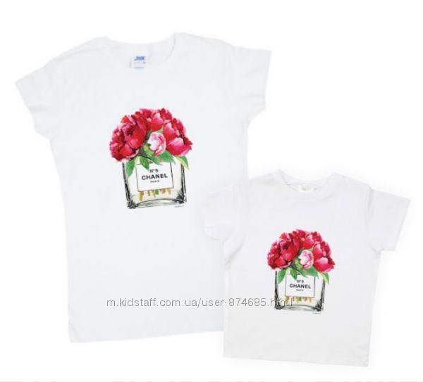 Парные футболки Мама-дочка, комплект футболок, принт, family look