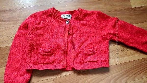 Болеро, кофточка красная 1-1, 5 года 12-18 месяцев