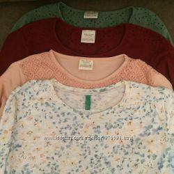Базовые футболки ZARA, Benetton, рост 140
