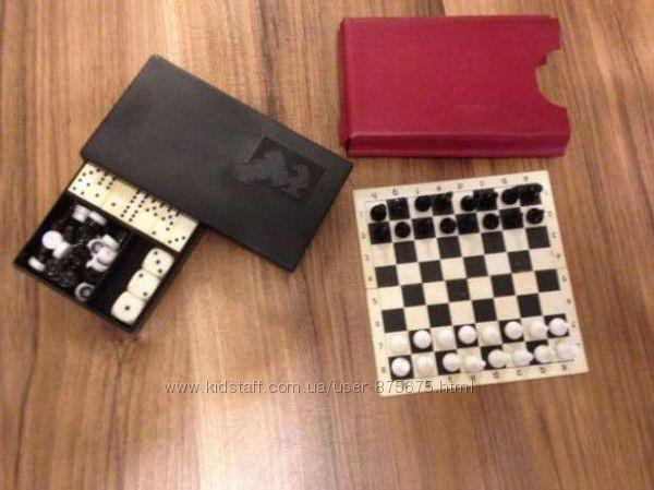 Дорожный набор игр СССР. Шахматы, шашки, домино.