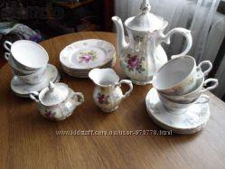 Чайный сервиз Розы ГДР Kahla, на 6 персон новый