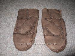 Шкіряні зимові рукавиці на натуральній овчині, 3-5 років