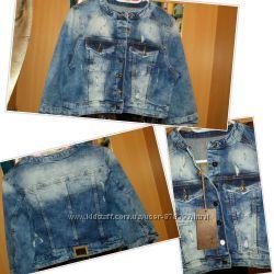 джинсовые Жилетки с кружевом в наличии все размеры , от 400гр