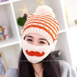 Супертёплая вязаная шапка с усами