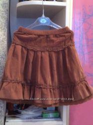 юбка микровельвет для девочки 6-7 лет