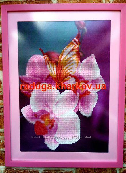 Картина, алмазная вышивка, мозаика, орхидея стразами, кристаллами, паспарту, 5D