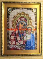 Божья Матерь Казанская, вышивка стразами, алмазная мозайка, икона, образ, лик