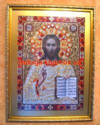Исус Христос, алмазная вышивка, лик Христа, мозаика, икона стразами, образ