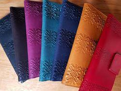 Кожаные кошельки Орнамент Вышиванка Цветы Завиток Ассортимент Киев в наличи