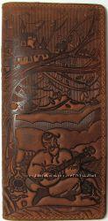 Оригинальный патриотичный кожаный кошелек внутри и снаружи-100 проц. Скидки
