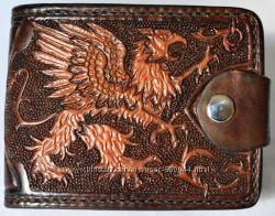 Авторское кожаное портмоне кошелек полностью ручная работа натуральная кожа