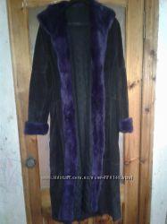 Зимнее пальто натуральный замш, на синтапоне