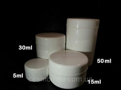 Белая баночка для косметики, 50мл, 30мл, 15мл, 5мл