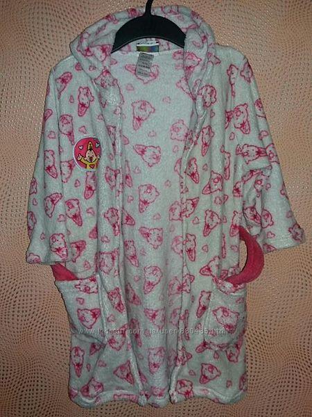 Плюшевый халат с капюшоном bumba, размер 98-104